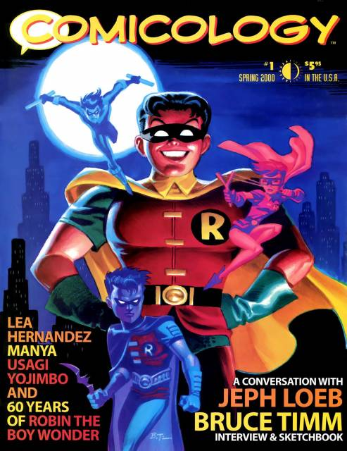 Cover to 'Comicology' Vol. 2 #1 showing large figure of the young original Robin against a cityscape with smaller figures of Dick Grayson as Nightwing, Carrie Kelley as Robin, and Tim Drake as Robin around him