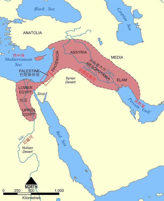 ▲巴勒斯坦地位於「肥沃月灣」之內。