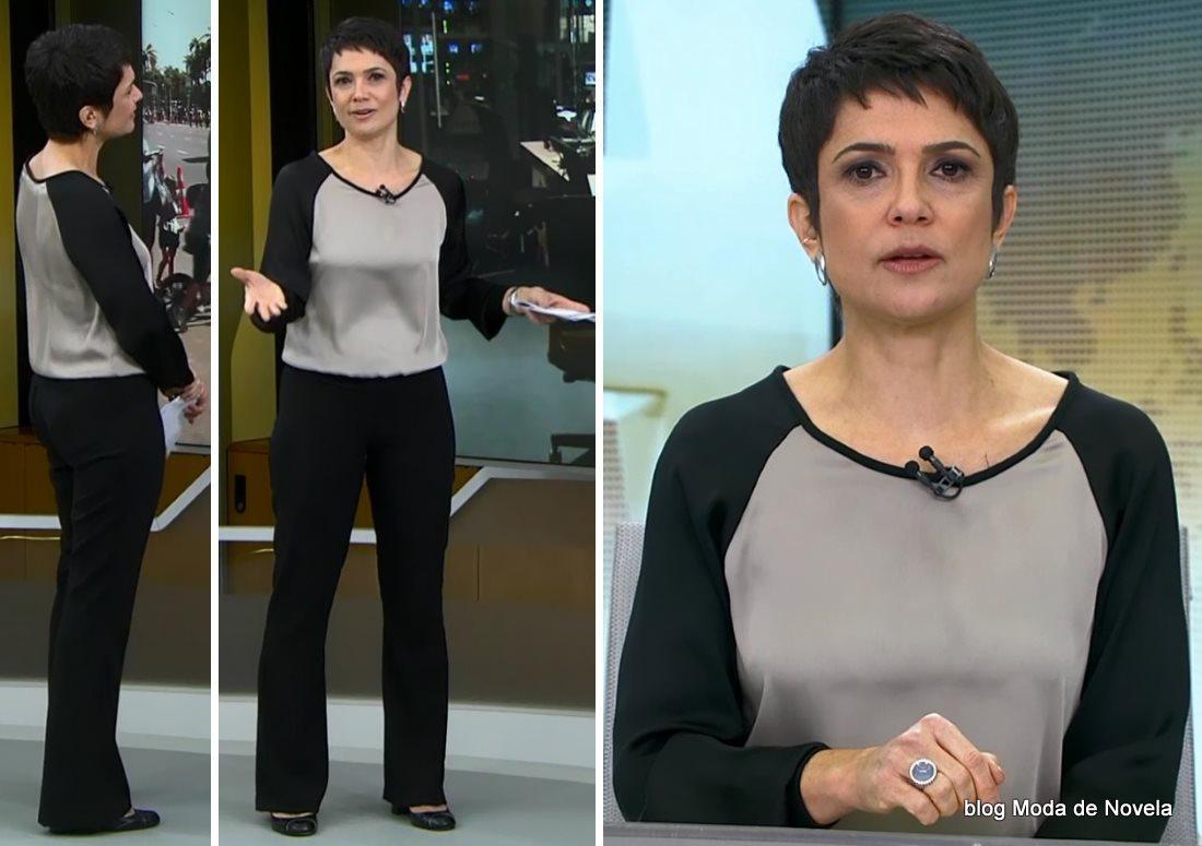moda do programa Jornal Hoje - look da Sandra Annenberg dia 30 de junho