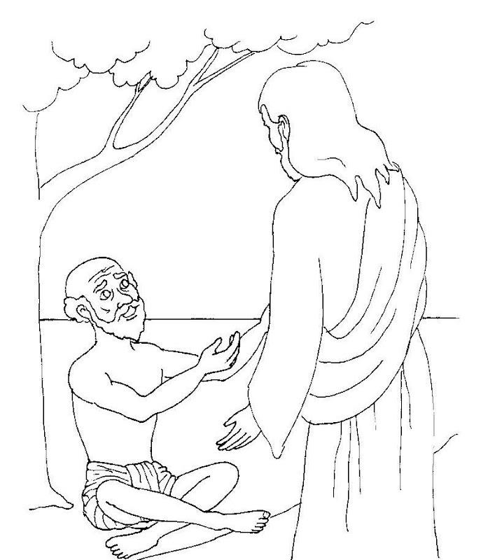 El ciego vuelve a ver gracias a Jesús para colorear