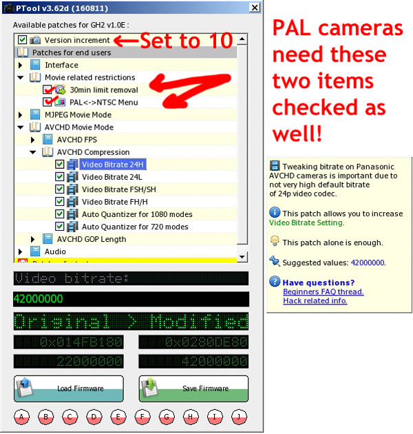 Movie Related Restrictions: PAL Panasonic GH2 PTool v3.62d............ONLY