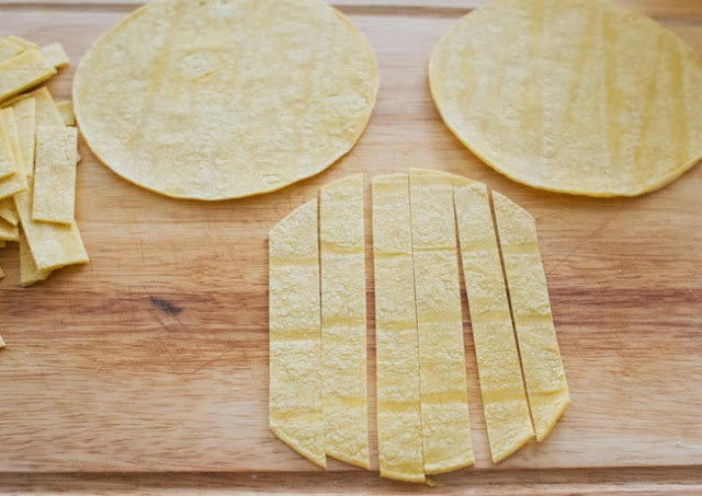 process photo showing how to cut the tortillas