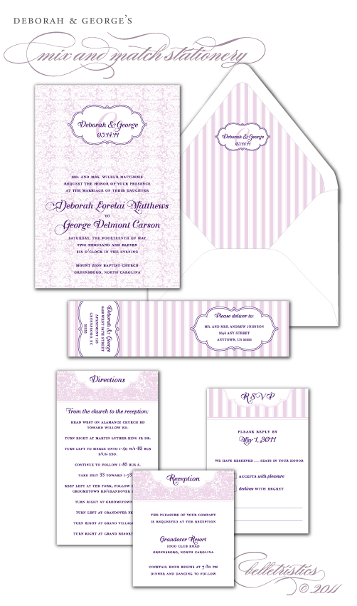 damask wedding invitation suite diy printable