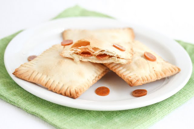 photo of three pizza pop tarts on a plate