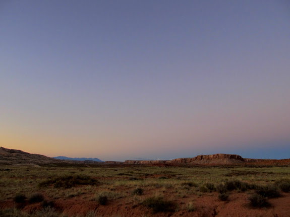 Abajo Mountains and Tank Mesa after sunset