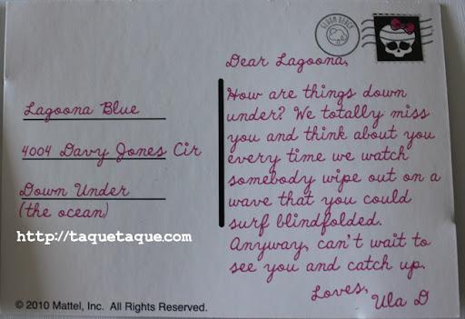 Postal de Draculaura para su amiga Lagoona Blue