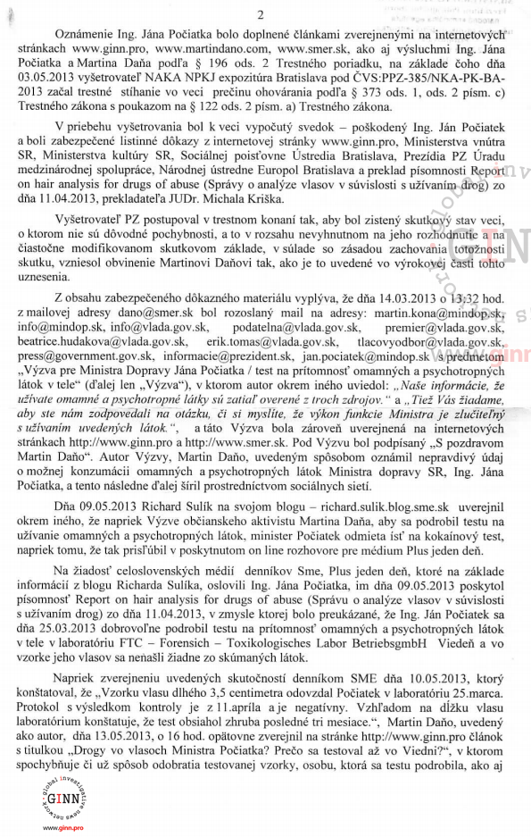 Uznesenie o vzneseni obvinenia NAKA, Martin Dano, Jan Pociatek, strana 2/4