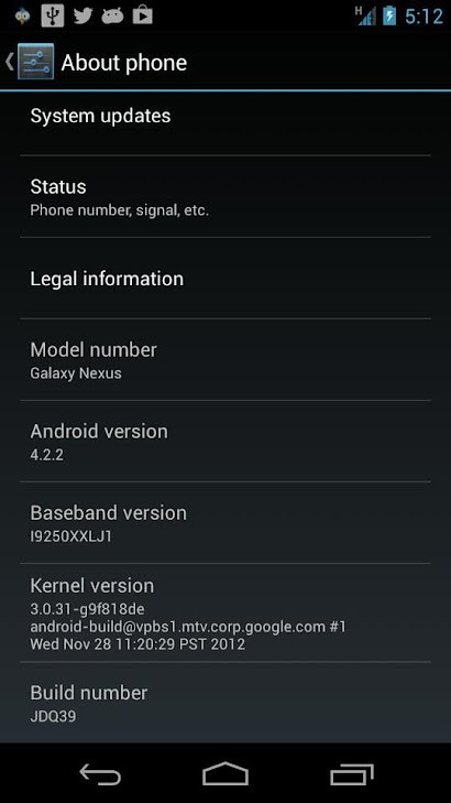 Cara Update Jelly Bean 4.2.2 Galaxy Nexus i9250 GSM