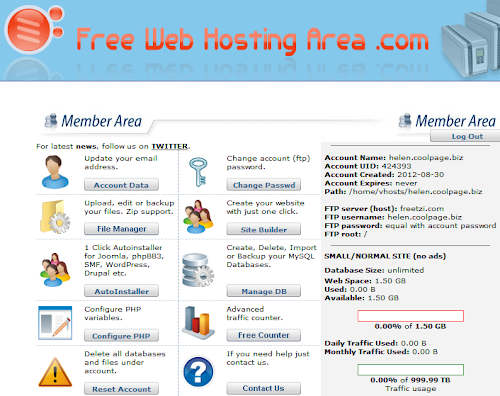 Painel do Free Web Hosting Area