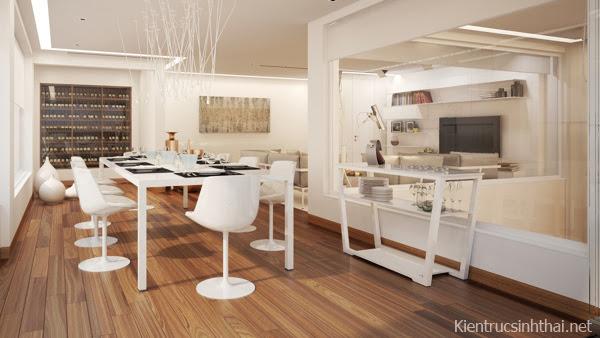 Phòng ăn căn hộ penhouse mang phong cách Scandinavia