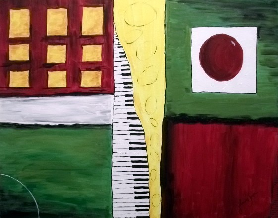 """""""Piano and Sax Illusion"""" by artist J. Louvre Spezia. Acrylic. NFS."""