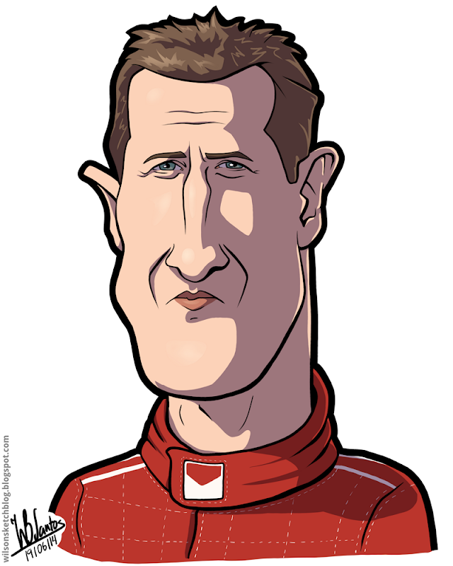 Cartoon caricature of Michael Schumacher.
