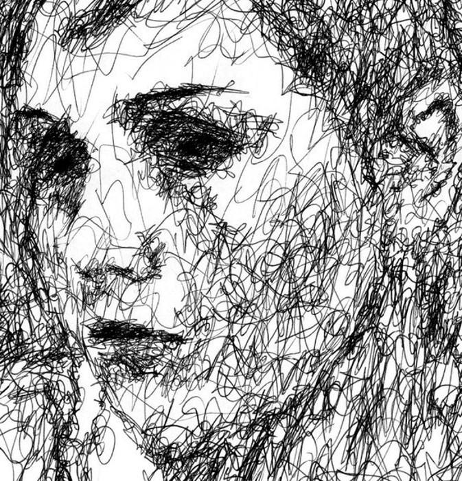 Scribble Pen Drawing : Ballpoint pen art movement