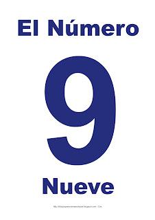 Lámina para imprimir el número nueve en color Azul