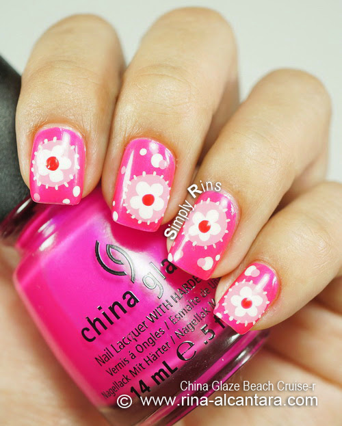 Flower Patches Nail Art Design on China Glaze Beach Cruise-R