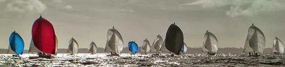 J/80s sailing downwind off La Trinite, France