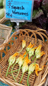 Some of the offerings at the PSU Portland Farmers market on Saturdays - squash blossoms