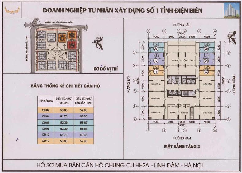 thiết kế căn hộ măt bằng tầng 2 chung cư HH2A HH2B HH2C Linh Đàm