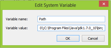 Menambahkan  Path Java Development Kit JDK pada system variable Windows