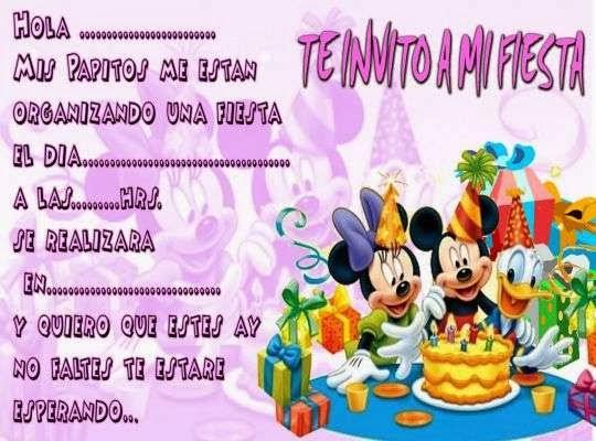 Invitaciones de disney cumpleaños para imprimir