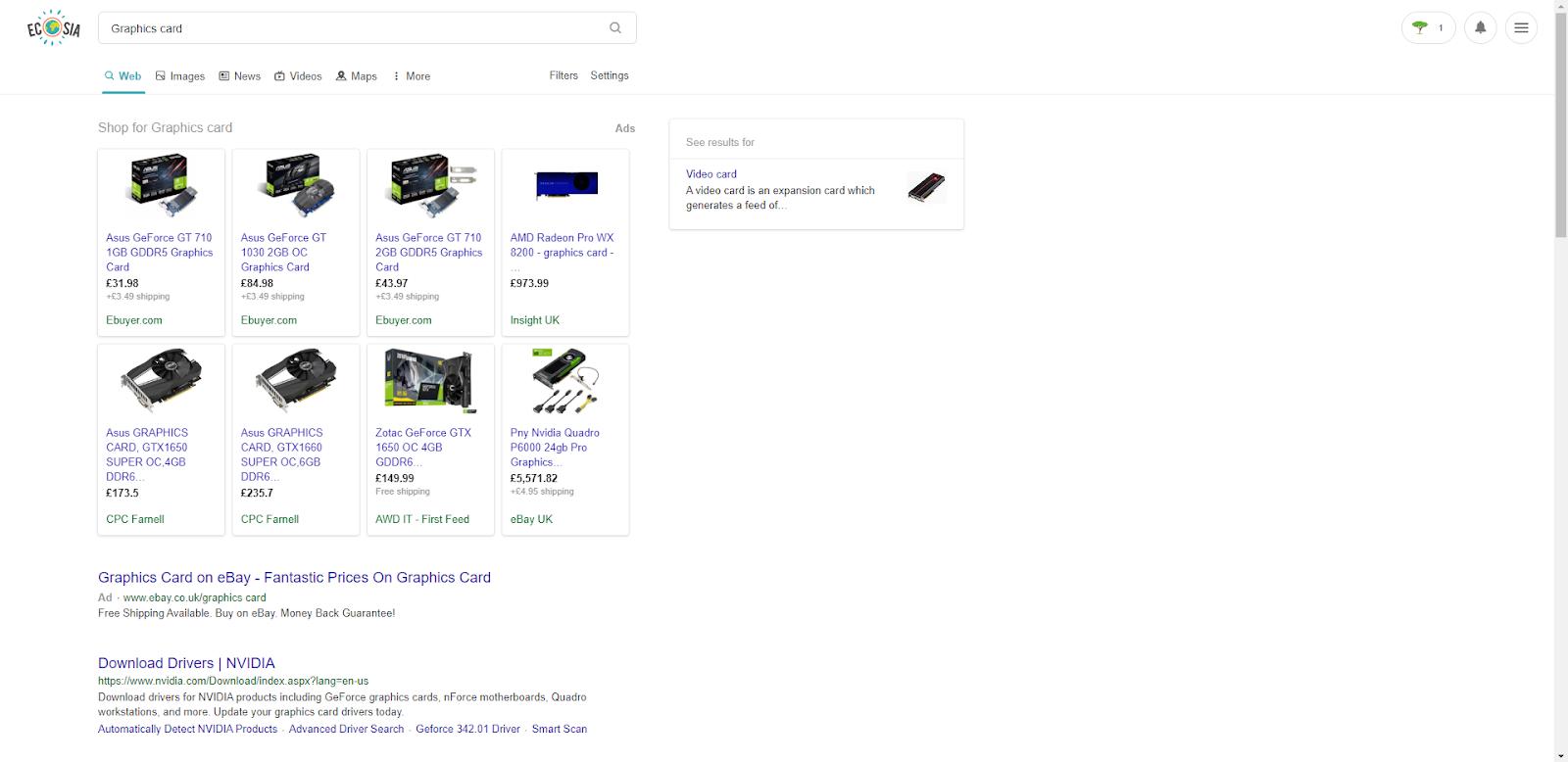 Ecosia search results.