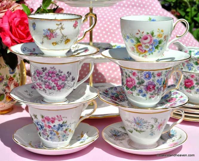 Summer Days Mismatched Vintage Tea Set Teacups