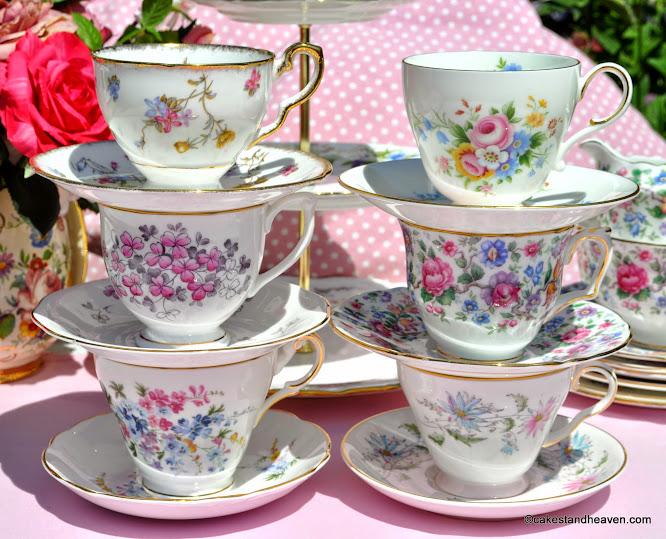 Summer Days Mismatched Vintage Tea Set Teacups