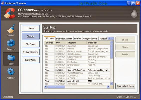 Menu Startup di CCleaner 4.06.4324