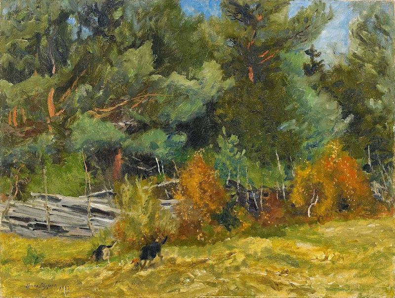 Bruno Liljefors - Scent hounds at fence 1922