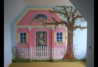 Painting at Homearama. This is a large play room. Painted doors are actual doors which open to storage area.