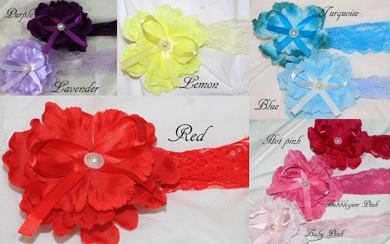 Baby Girl Toddler Lace Rose Peony Headband Wedding Christening Bridal 9 Colours