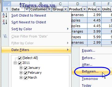 autofilter Excel 2007