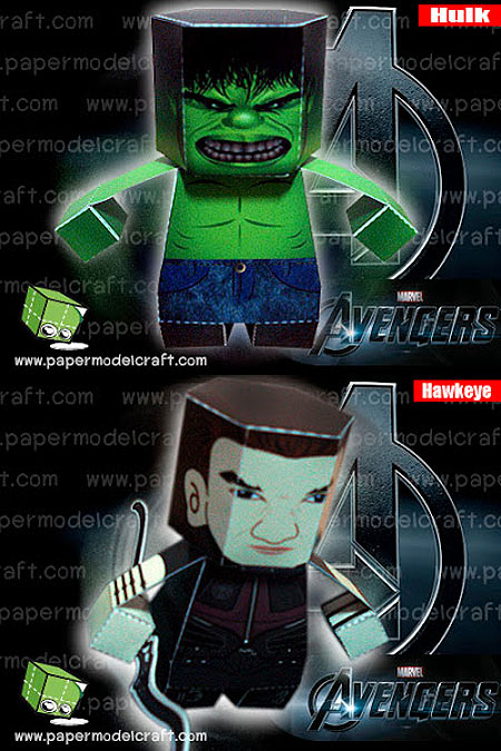 The Avengers Hawkeye The Hulk Paper Toy