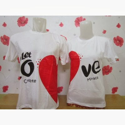 Kaos Couple Murah Let Love Putih
