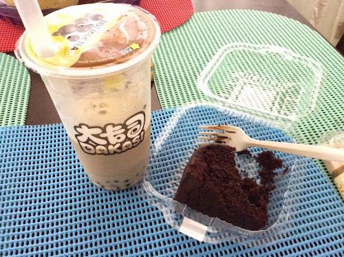 Dakasi Bubble Milk Tea and Triple Chocolate Cake