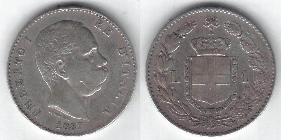 Mi colección de monedas italianas. 1%20lira%201887%20R