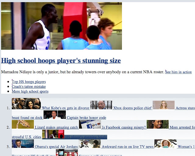 improperly rendered Yahoo page