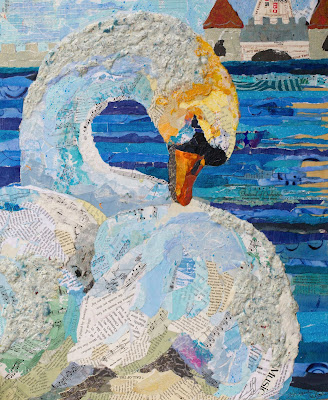 The Swan. 20x24, collage of hand-painted and hand-made papers on panel
