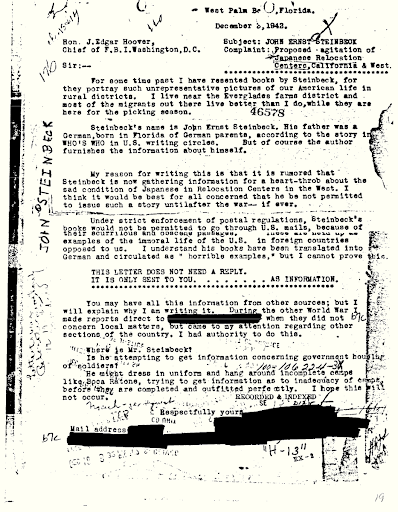 A letter in Pulitzer Prize winning writer John Steinbeck's FBI file