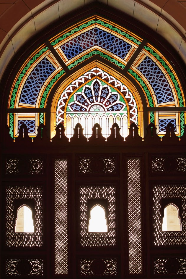 Glass and wooden work inside the female prayer room of Sultan Qaboos Grand Mosque, Muscat