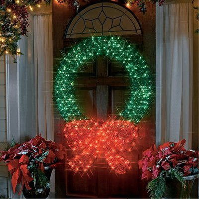 48-Inch Lighted Crystal 3-D Outdoor Christmas Wreath Decoration
