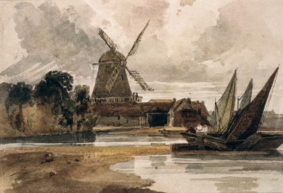 Peter De Wint - A Smock Mill on the Thames