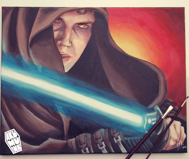 skywalker art, skywalker painting, starwars painting, starwars artwork, star wars custom art, starwars custom painting, starwars poster, lightsaber painting, anakin painting
