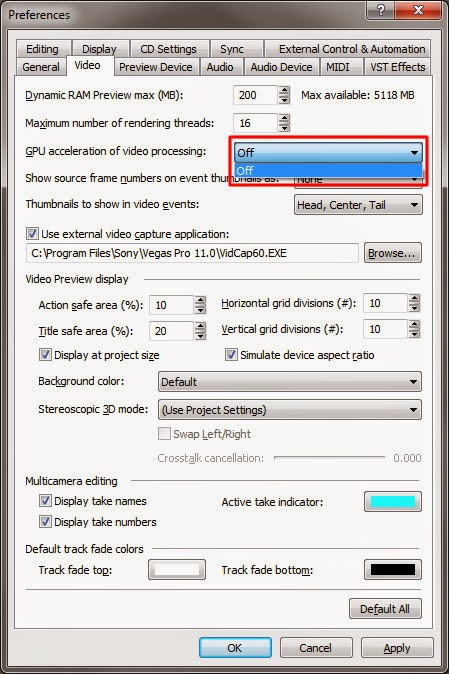 sony vegas pro gpu acceleration of video processing 기능 끄는 방법