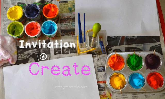 shaving foam painting invitation to create