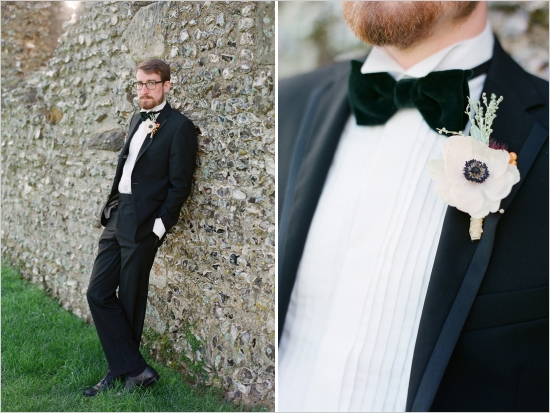 Black tux with green velvet bowtie