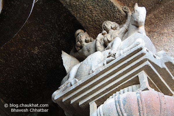 Sculpture on the top end of a pillar of Bedse Caves