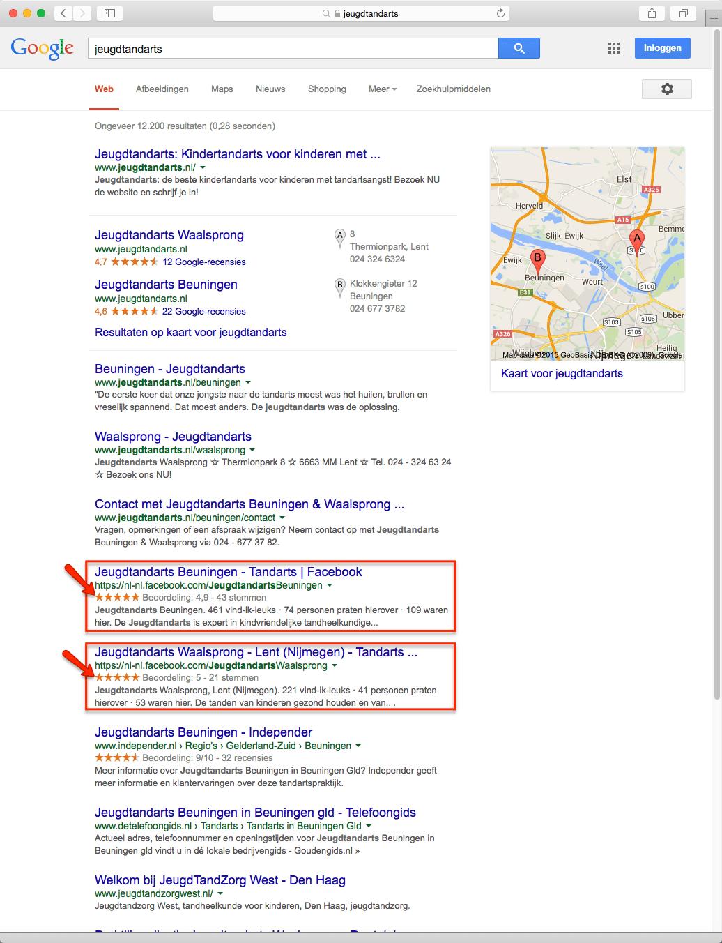 Google vertoont sterren bij Facebook reviews in de zoekresultaten