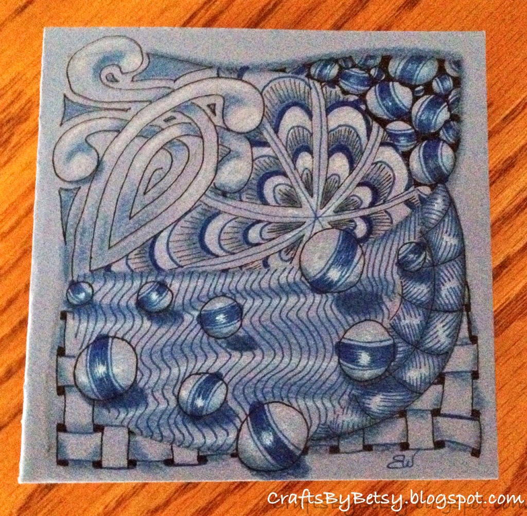 By betsy the cover of my mini book for zentangle 174 tiles