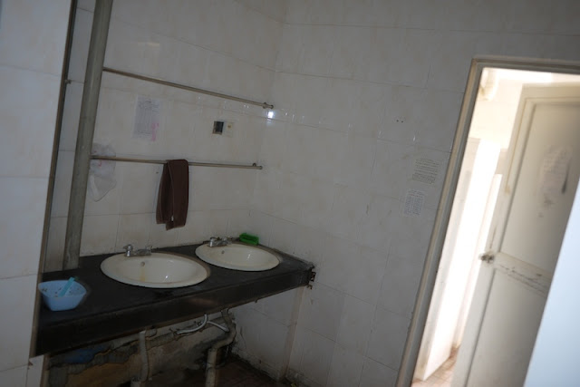 shared bathroom in a female dormitory at Central South University of Forestry and Technology in Changsha, China.